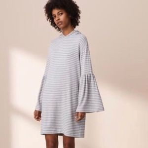 Lou & Grey Hoodie Bell Sleeve Stripe Gray Dress M